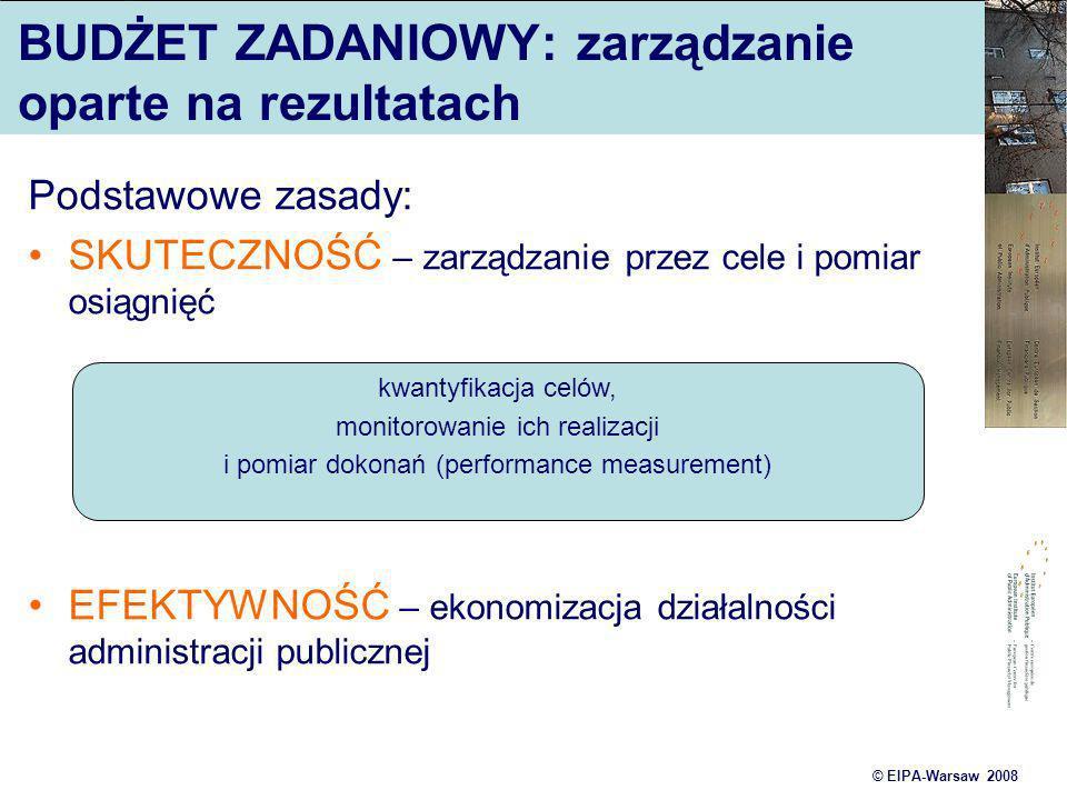 © EIPA-Warsaw 2008 BUDŻET ZADANIOWY: zarządzanie oparte na rezultatach Podstawowe zasady: SKUTECZNOŚĆ – zarządzanie przez cele i pomiar osiągnięć EFEK