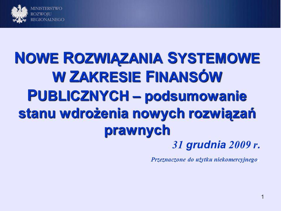 1 N OWE R OZWIĄZANIA S YSTEMOWE W Z AKRESIE F INANSÓW P UBLICZNYCH – podsumowanie stanu wdrożenia nowych rozwiązań prawnych 31 grudnia 2009 r.
