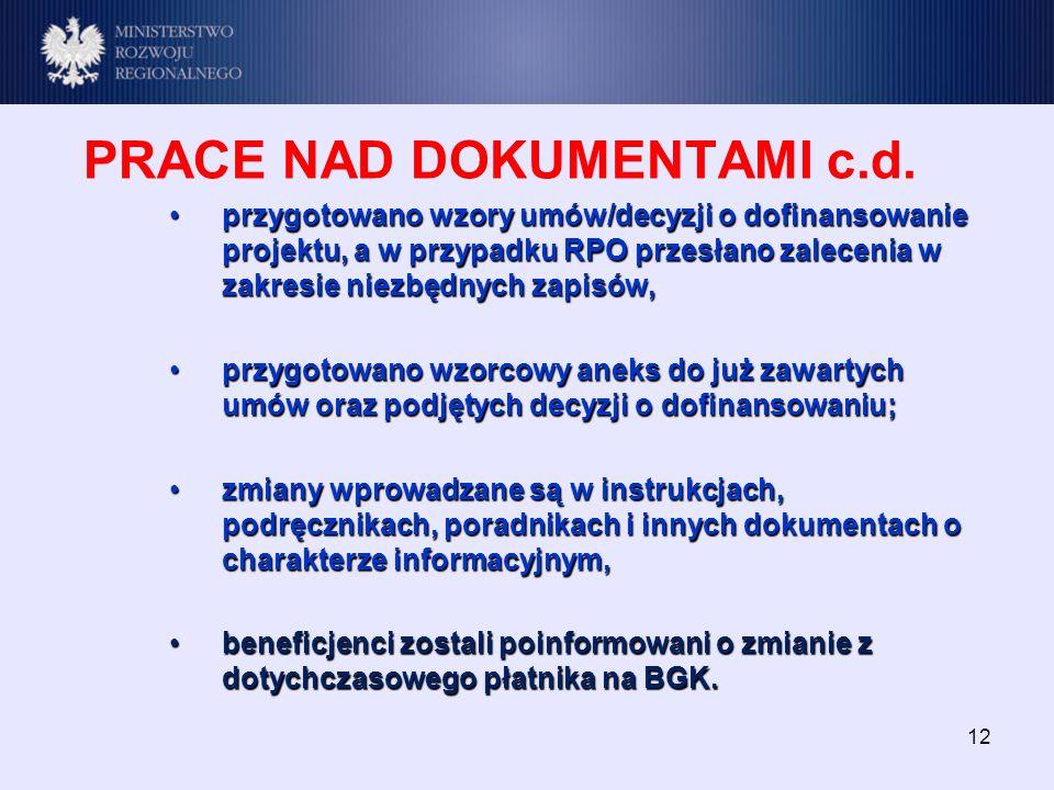 12 PRACE NAD DOKUMENTAMI c.d.