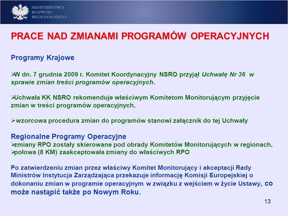 13 PRACE NAD ZMIANAMI PROGRAMÓW OPERACYJNYCH Programy Krajowe W dn.