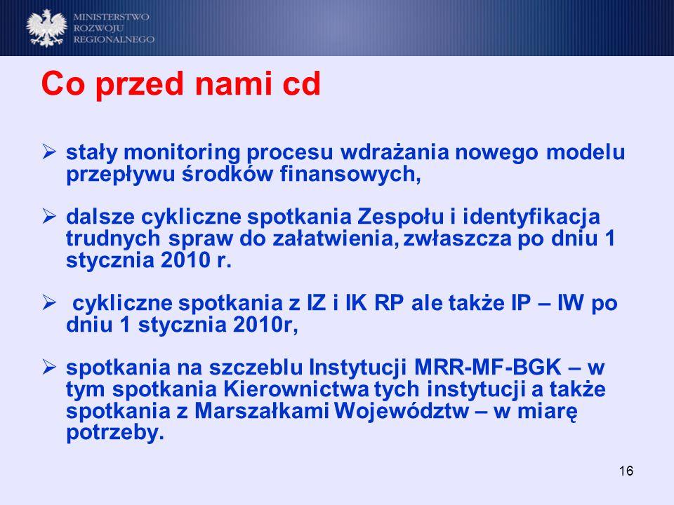 16 Co przed nami cd stały monitoring procesu wdrażania nowego modelu przepływu środków finansowych, dalsze cykliczne spotkania Zespołu i identyfikacja trudnych spraw do załatwienia, zwłaszcza po dniu 1 stycznia 2010 r.