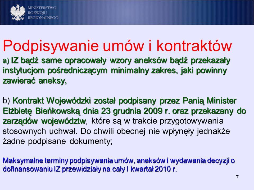 a) IZ bądź same opracowały wzory aneksów bądź przekazały instytucjom pośredniczącym minimalny zakres, jaki powinny zawierać aneksy, Kontrakt Wojewódzki został podpisany przez Panią Minister Elżbietę Bieńkowską dnia 23 grudnia 2009 r.