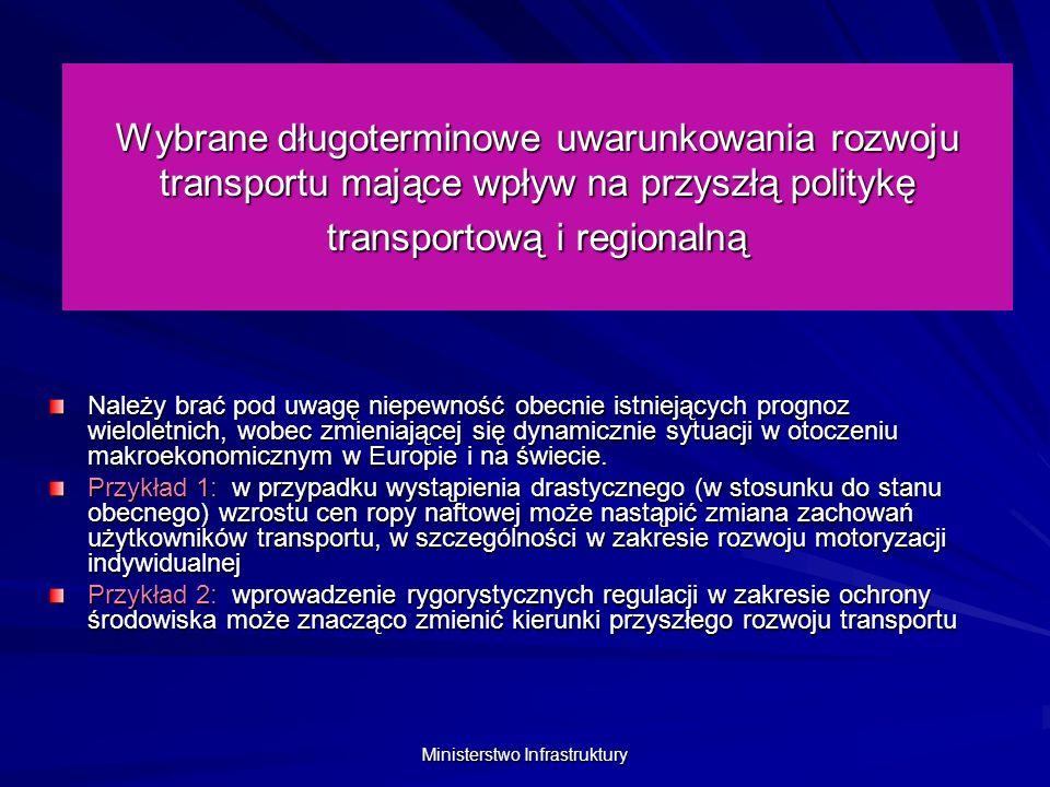Ministerstwo Infrastruktury Wybrane długoterminowe uwarunkowania rozwoju transportu mające wpływ na przyszłą politykę transportową i regionalną Uwzględniając powyższe zastrzeżenia, w oparciu o dzisiejsze dane wyjściowe można założyć: Znaczny wzrost przewozów ładunków transportem samochodowym ogółem Szybki wzrost zapotrzebowania na przewozy samochodowe międzynarodowe w obsłudze ładunków polskiego handlu zagranicznego i przewozów tranzytowych Wolniejszy od dynamiki transportu drogowego, wzrost przewozów ładunków transportem kolejowym