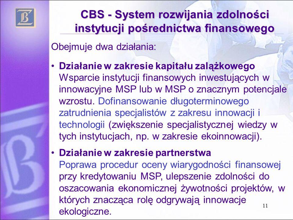 11 CBS - System rozwijania zdolności instytucji pośrednictwa finansowego Obejmuje dwa działania: Działanie w zakresie kapitału zalążkowego Wsparcie instytucji finansowych inwestujących w innowacyjne MSP lub w MSP o znacznym potencjale wzrostu.