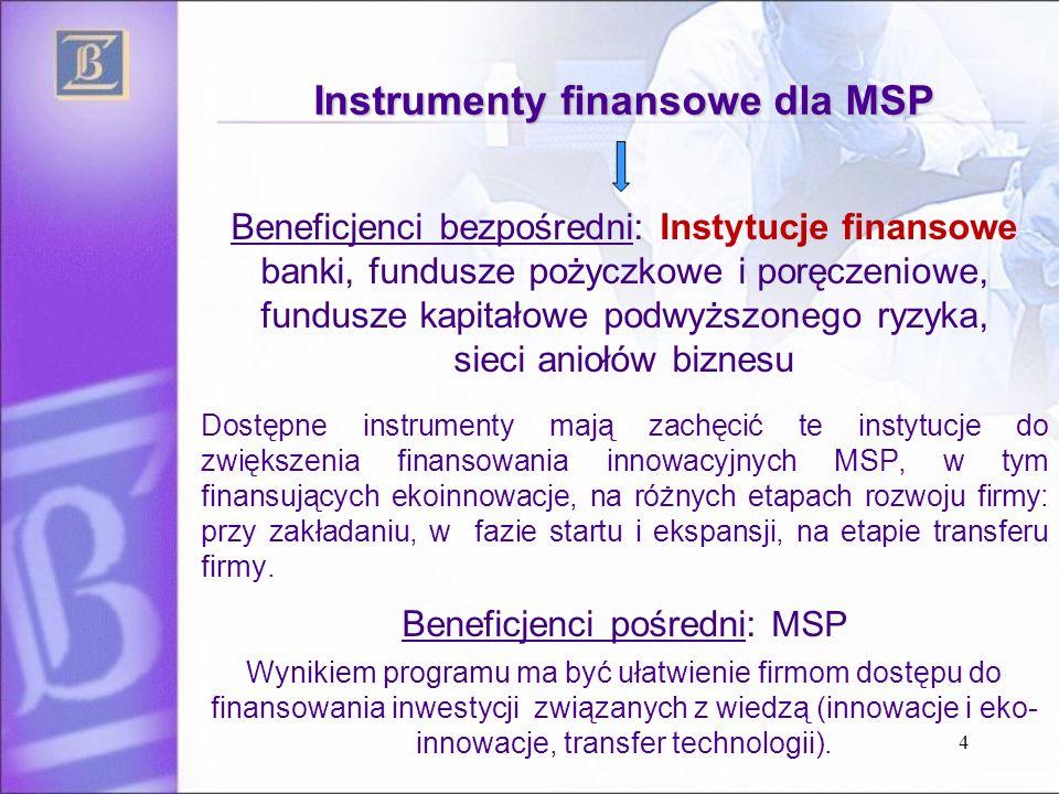 4 Beneficjenci bezpośredni: Instytucje finansowe banki, fundusze pożyczkowe i poręczeniowe, fundusze kapitałowe podwyższonego ryzyka, sieci aniołów biznesu Dostępne instrumenty mają zachęcić te instytucje do zwiększenia finansowania innowacyjnych MSP, w tym finansujących ekoinnowacje, na różnych etapach rozwoju firmy: przy zakładaniu, w fazie startu i ekspansji, na etapie transferu firmy.