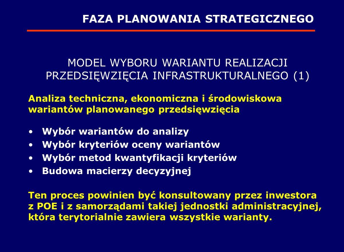 MODEL WYBORU WARIANTU REALIZACJI PRZEDSIĘWZIĘCIA INFRASTRUKTURALNEGO (1) Analiza techniczna, ekonomiczna i środowiskowa wariantów planowanego przedsię