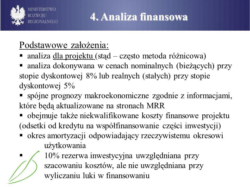 4. Analiza finansowa Podstawowe założenia: analiza dla projektu (stąd – często metoda różnicowa) analiza dokonywana w cenach nominalnych (bieżących) p