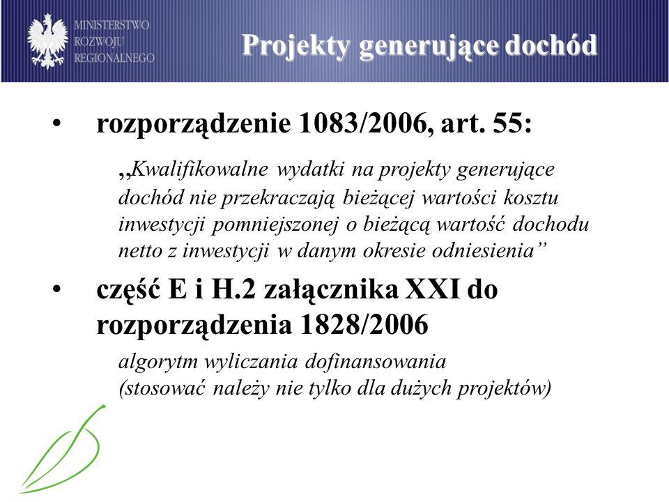 Projekty generujące dochód rozporządzenie 1083/2006, art. 55: Kwalifikowalne wydatki na projekty generujące dochód nie przekraczają bieżącej wartości