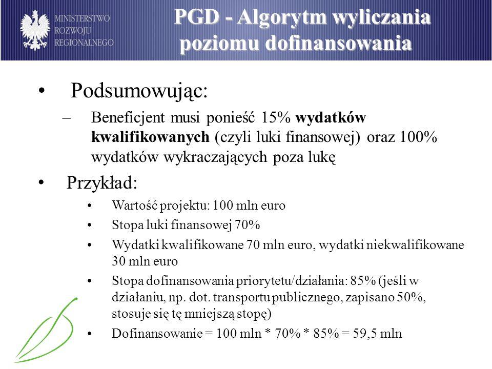 PGD - Algorytm wyliczania poziomu dofinansowania poziomu dofinansowania Podsumowując: –Beneficjent musi ponieść 15% wydatków kwalifikowanych (czyli lu