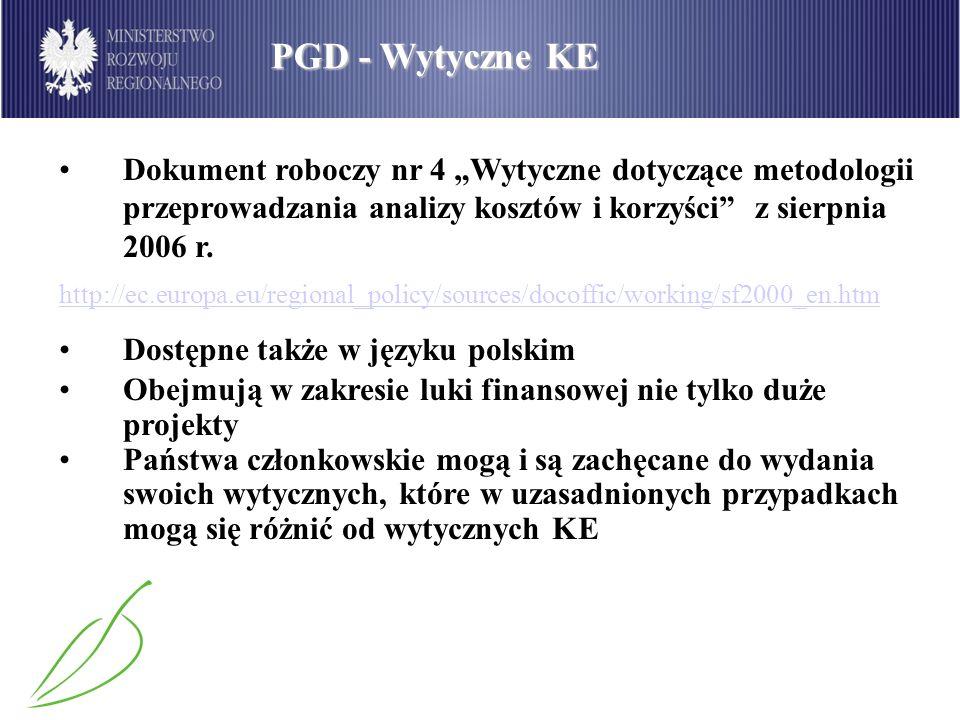 PGD - Wytyczne KE Dokument roboczy nr 4 Wytyczne dotyczące metodologii przeprowadzania analizy kosztów i korzyści z sierpnia 2006 r. http://ec.europa.