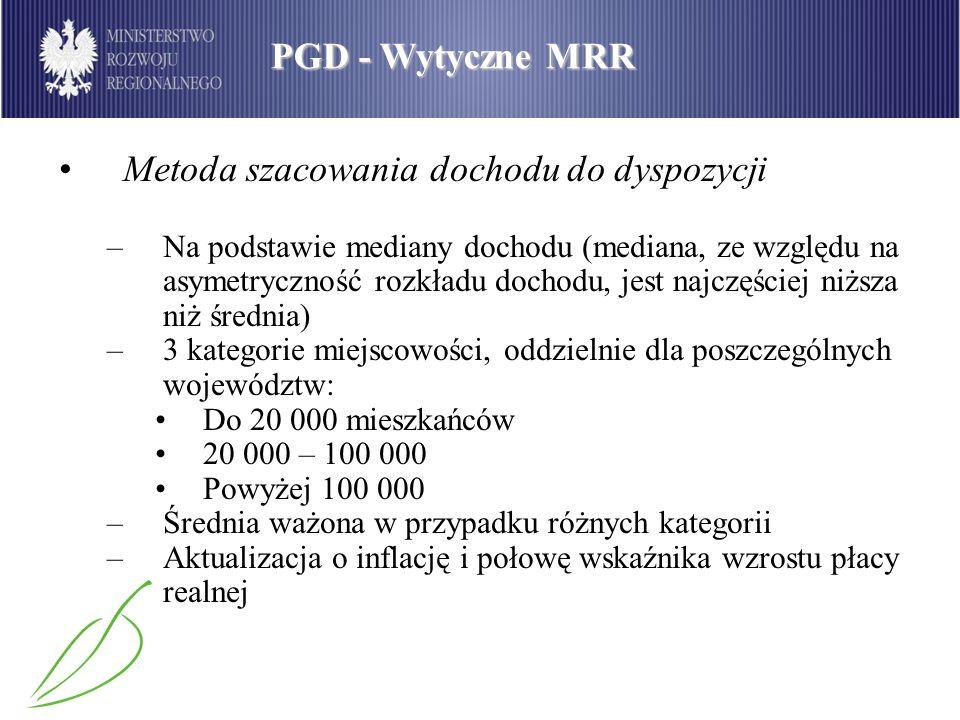 PGD - Wytyczne MRR Metoda szacowania dochodu do dyspozycji –Na podstawie mediany dochodu (mediana, ze względu na asymetryczność rozkładu dochodu, jest