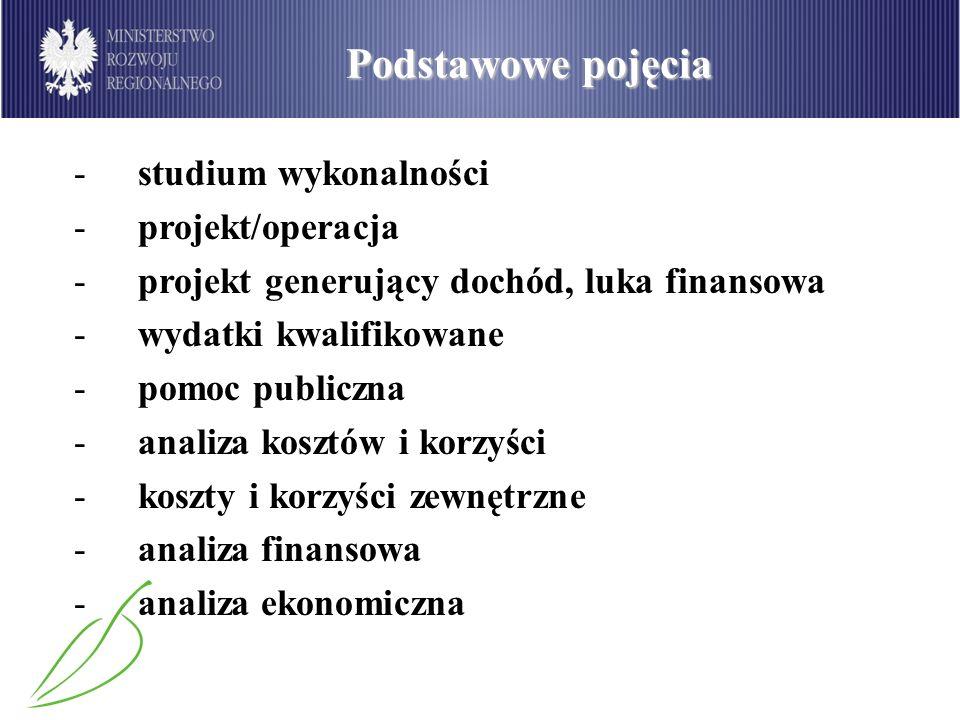 Podstawowe pojęcia -studium wykonalności -projekt/operacja -projekt generujący dochód, luka finansowa -wydatki kwalifikowane -pomoc publiczna -analiza
