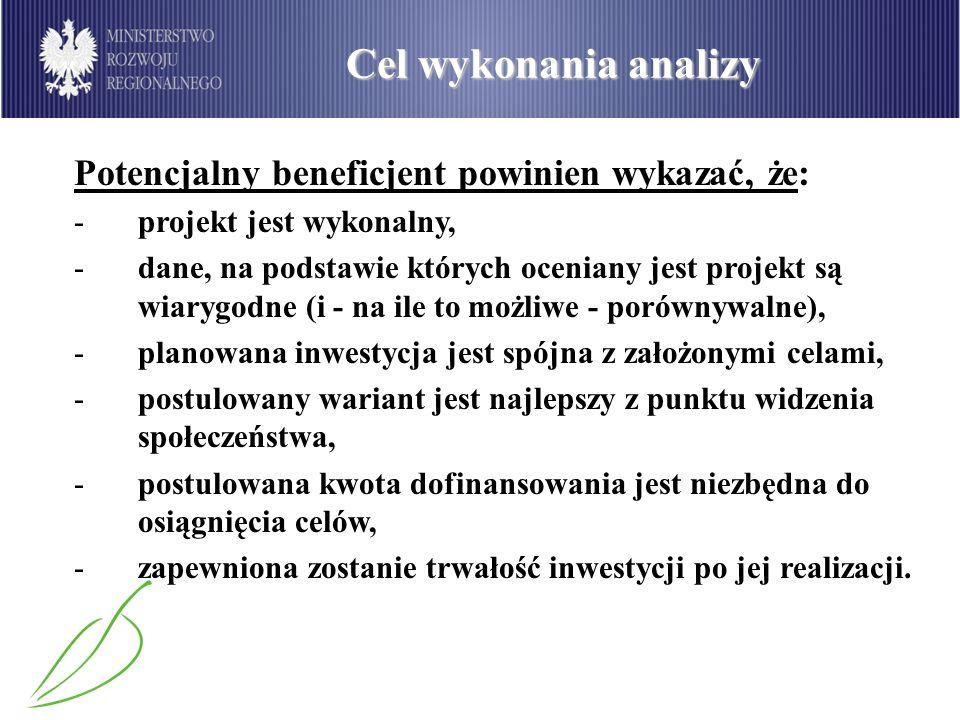 Cel wykonania analizy Potencjalny beneficjent powinien wykazać, że: -projekt jest wykonalny, -dane, na podstawie których oceniany jest projekt są wiar