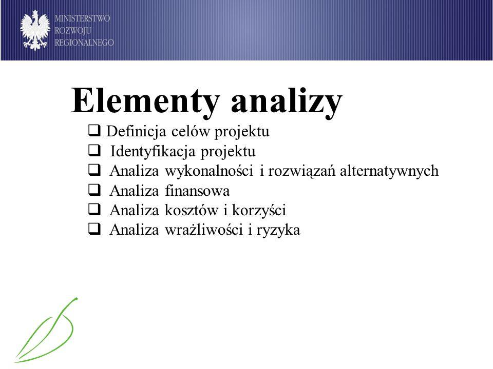 Elementy analizy Definicja celów projektu Identyfikacja projektu Analiza wykonalności i rozwiązań alternatywnych Analiza finansowa Analiza kosztów i k