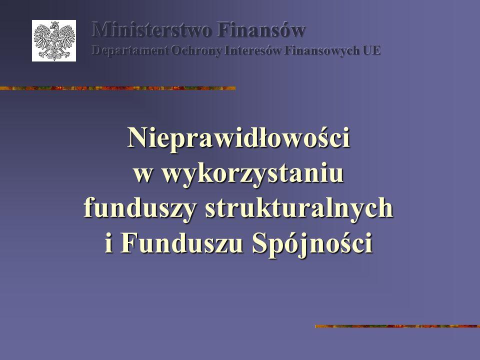 Nieprawidłowości podlegające niezwłocznemu zgłoszeniu do KE istnieją obawy, że nieprawidłowość może mieć w bardzo krótkim czasie negatywne następstwa poza terytorium Polski nieprawidłowość ukazuje, że zastosowano nową nieprawidłową praktykę Niezależnie od kwoty