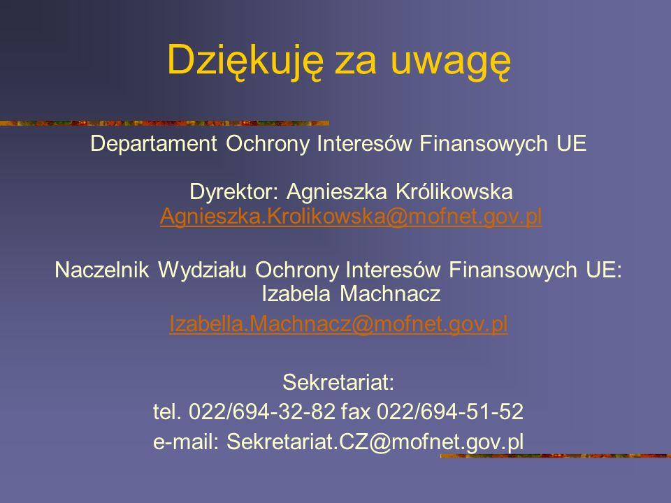 Dziękuję za uwagę Departament Ochrony Interesów Finansowych UE Dyrektor: Agnieszka Królikowska Agnieszka.Krolikowska@mofnet.gov.pl Agnieszka.Krolikows