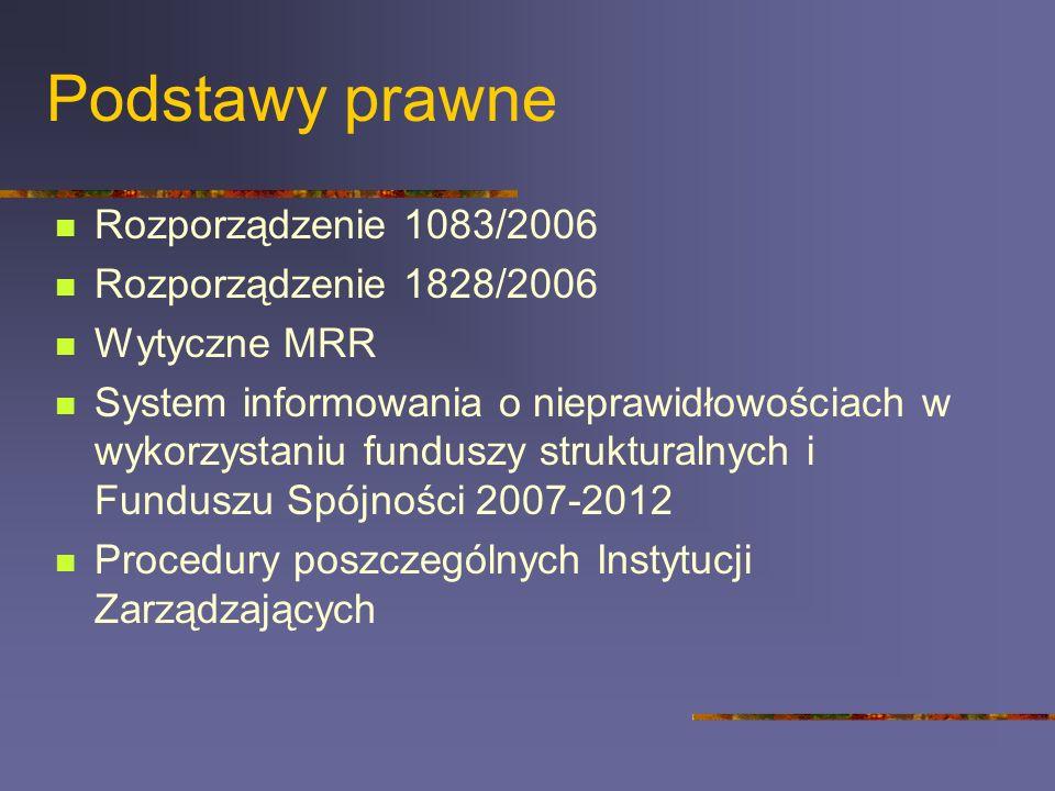 Podstawy prawne Rozporządzenie 1083/2006 Rozporządzenie 1828/2006 Wytyczne MRR System informowania o nieprawidłowościach w wykorzystaniu funduszy strukturalnych i Funduszu Spójności 2007-2012 Procedury poszczególnych Instytucji Zarządzających