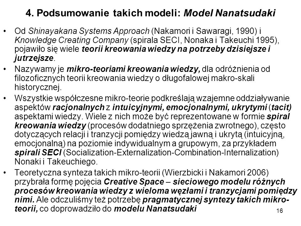 16 4. Podsumowanie takich modeli: Model Nanatsudaki Od Shinayakana Systems Approach (Nakamori i Sawaragi, 1990) i Knowledge Creating Company (spirala