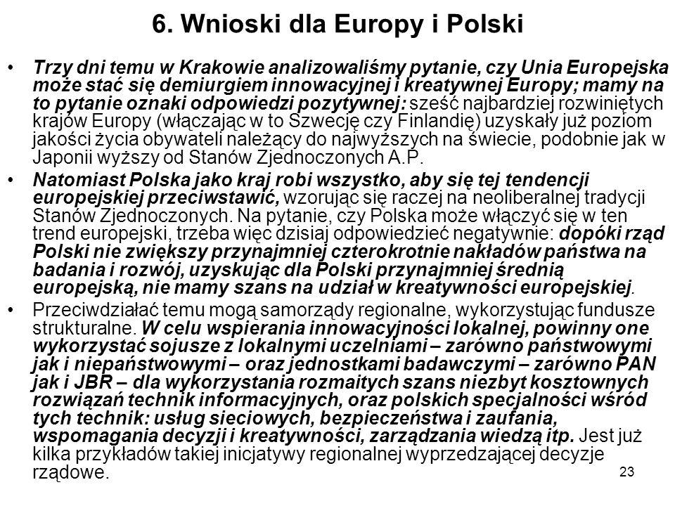 23 6. Wnioski dla Europy i Polski Trzy dni temu w Krakowie analizowaliśmy pytanie, czy Unia Europejska może stać się demiurgiem innowacyjnej i kreatyw