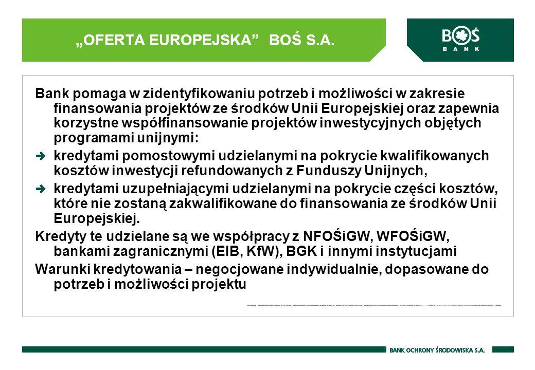 OFERTA EUROPEJSKA BOŚ S.A. Bank pomaga w zidentyfikowaniu potrzeb i możliwości w zakresie finansowania projektów ze środków Unii Europejskiej oraz zap