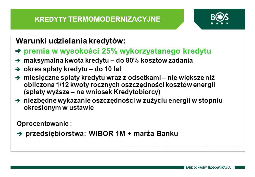 KREDYTY TERMOMODERNIZACYJNE premia w wysokości 25% wykorzystanego kredytu maksymalna kwota kredytu – do 80% kosztów zadania okres spłaty kredytu – do 10 lat miesięczne spłaty kredytu wraz z odsetkami – nie większe niż obliczona 1/12 kwoty rocznych oszczędności kosztów energii (spłaty wyższe – na wniosek Kredytobiorcy) niezbędne wykazanie oszczędności w zużyciu energii w stopniu określonym w ustawie Oprocentowanie : przedsiębiorstwa: WIBOR 1M + marża Banku Warunki udzielania kredytów: