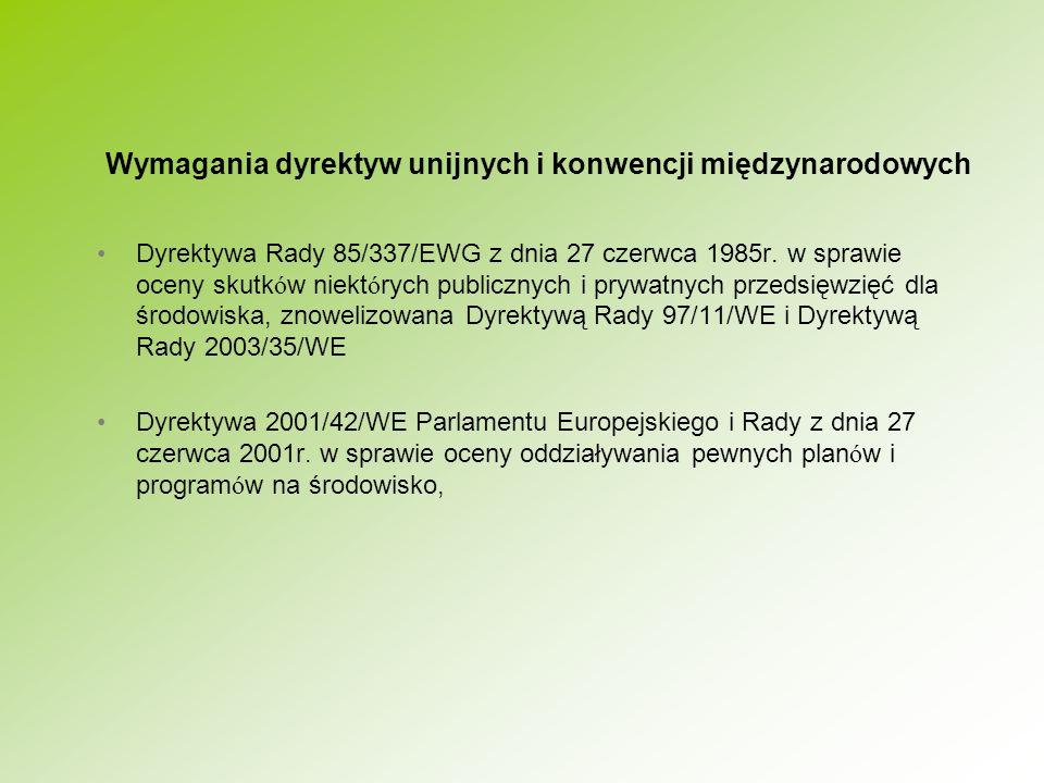 Najważniejsze zarzuty Komisji Europejskiej dotyczące niezgodności prawa polskiego z przepisami dyrektywy 85/337/EWG: nieprawidłowa transpozycja pojęcia development consent (zezwolenia na inwestycję), nieprawidłowa transpozycja przepisów dotyczących zezwolenia na inwestycję w odniesieniu do zgłoszenia (budowy lub wykonywania robót budowlanych oraz zmiany sposobu użytkowania obiektu budowlanego lub jego części, dokonywanego na postawie ustawy Prawo budowlane), zbyt wczesne w toku procesu inwestycyjnego przeprowadzanie postępowania w sprawie ooś dla dróg krajowych, nieprawidłowa transpozycja pojęcia zainteresowana społeczność, niepełna zgodność polskich przepisów w zakresie informowania społeczności z wymaganiami art.