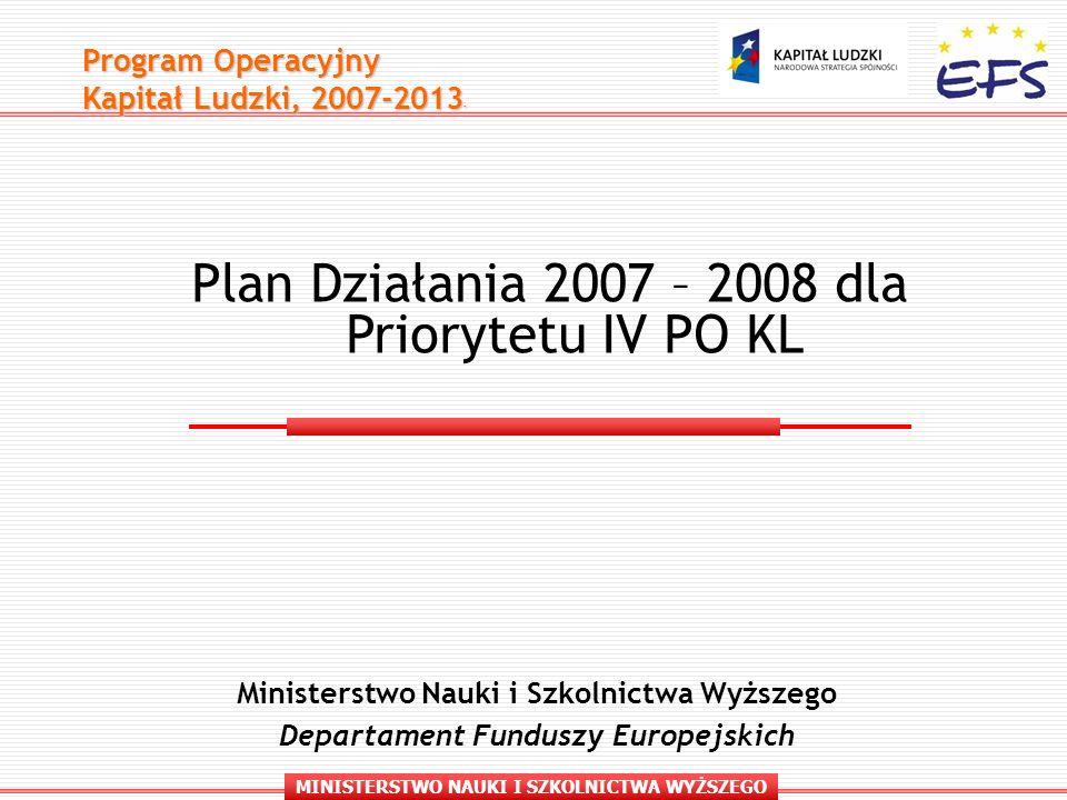 MINISTERSTWO NAUKI I SZKOLNICTWA WYŻSZEGO Program Operacyjny Kapitał Ludzki, 2007-2013 - Ministerstwo Nauki i Szkolnictwa Wyższego Departament Funduszy Europejskich Plan Działania 2007 – 2008 dla Priorytetu IV PO KL