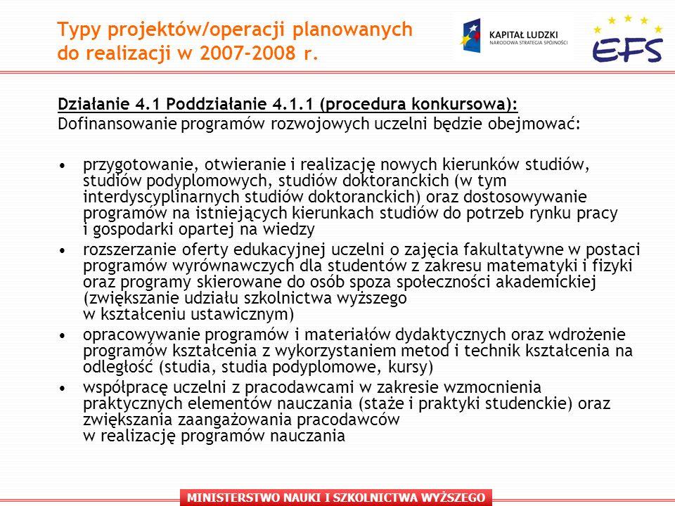 MINISTERSTWO NAUKI I SZKOLNICTWA WYŻSZEGO Typy projektów/operacji planowanych do realizacji w 2007-2008 r.
