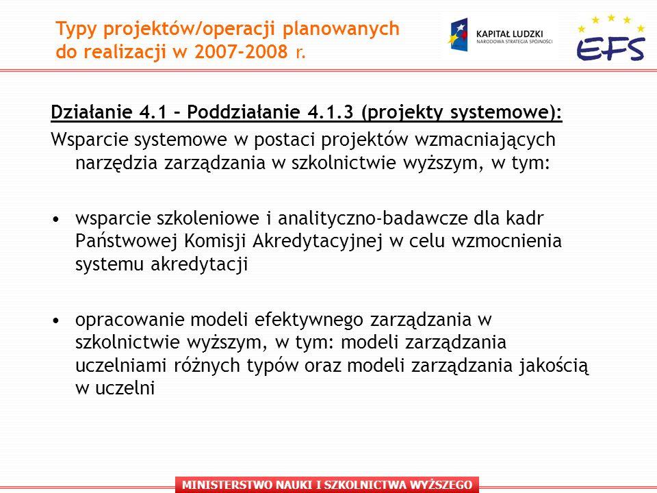 MINISTERSTWO NAUKI I SZKOLNICTWA WYŻSZEGO Działanie 4.1 – Poddziałanie 4.1.3 (projekty systemowe): Wsparcie systemowe w postaci projektów wzmacniających narzędzia zarządzania w szkolnictwie wyższym, w tym: wsparcie szkoleniowe i analityczno-badawcze dla kadr Państwowej Komisji Akredytacyjnej w celu wzmocnienia systemu akredytacji opracowanie modeli efektywnego zarządzania w szkolnictwie wyższym, w tym: modeli zarządzania uczelniami różnych typów oraz modeli zarządzania jakością w uczelni Typy projektów/operacji planowanych do realizacji w 2007-2008 r.