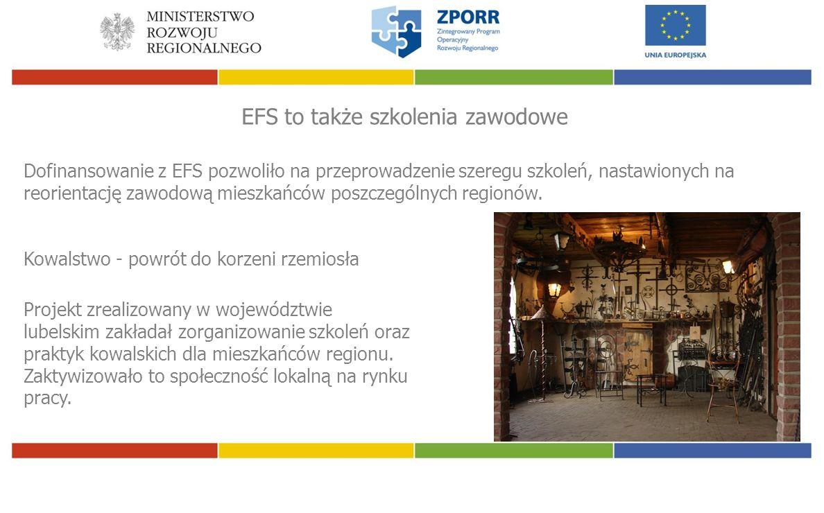 EFS to także szkolenia zawodowe Dofinansowanie z EFS pozwoliło na przeprowadzenie szeregu szkoleń, nastawionych na reorientację zawodową mieszkańców poszczególnych regionów.