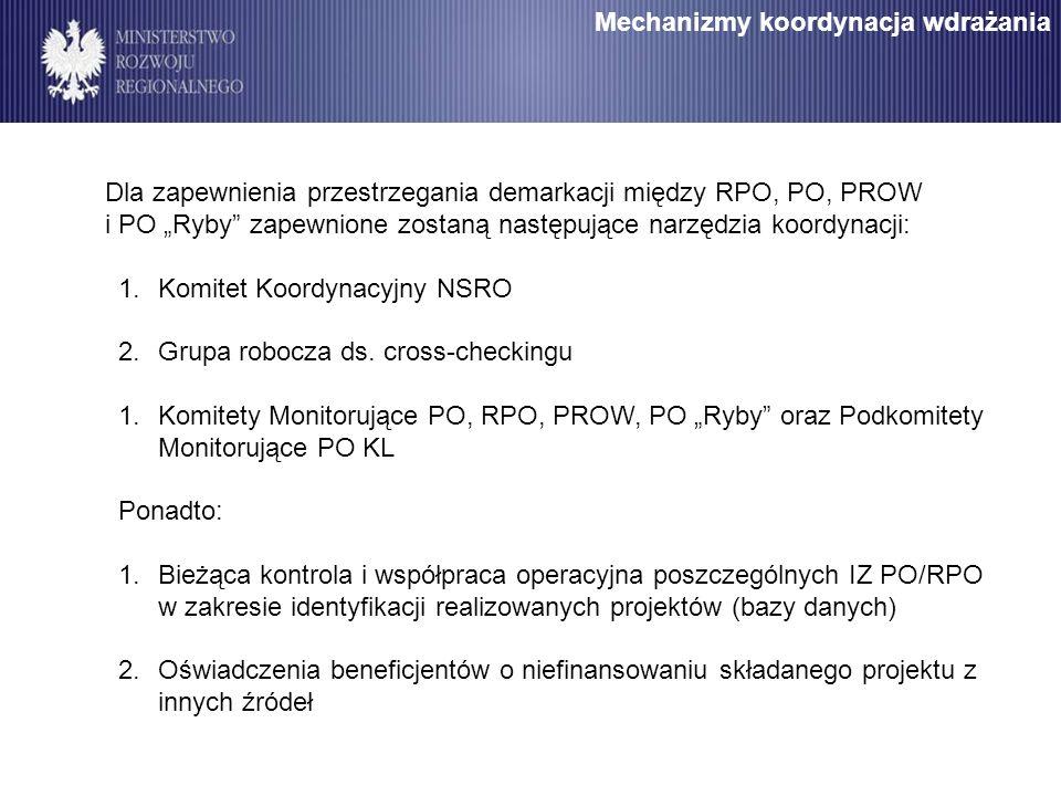 Mechanizmy koordynacja wdrażania Dla zapewnienia przestrzegania demarkacji między RPO, PO, PROW i PO Ryby zapewnione zostaną następujące narzędzia koo