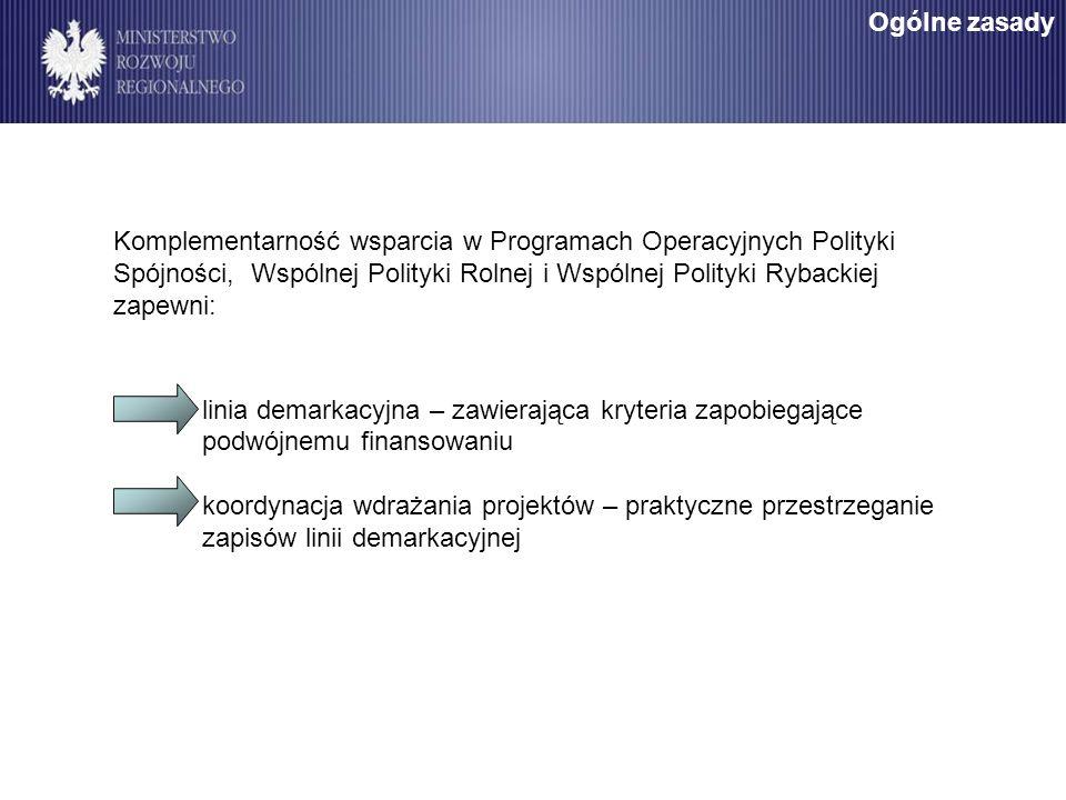 Komplementarność wsparcia w Programach Operacyjnych Polityki Spójności, Wspólnej Polityki Rolnej i Wspólnej Polityki Rybackiej zapewni: linia demarkac