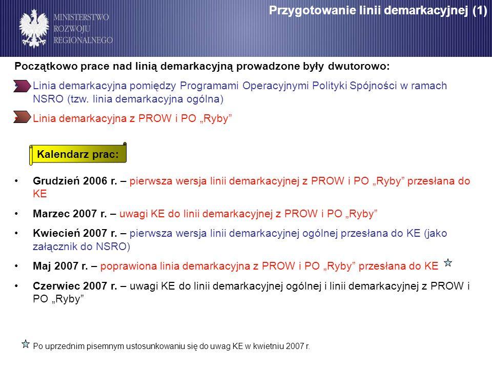 Przygotowanie linii demarkacyjnej (1) Początkowo prace nad linią demarkacyjną prowadzone były dwutorowo: Linia demarkacyjna pomiędzy Programami Operac