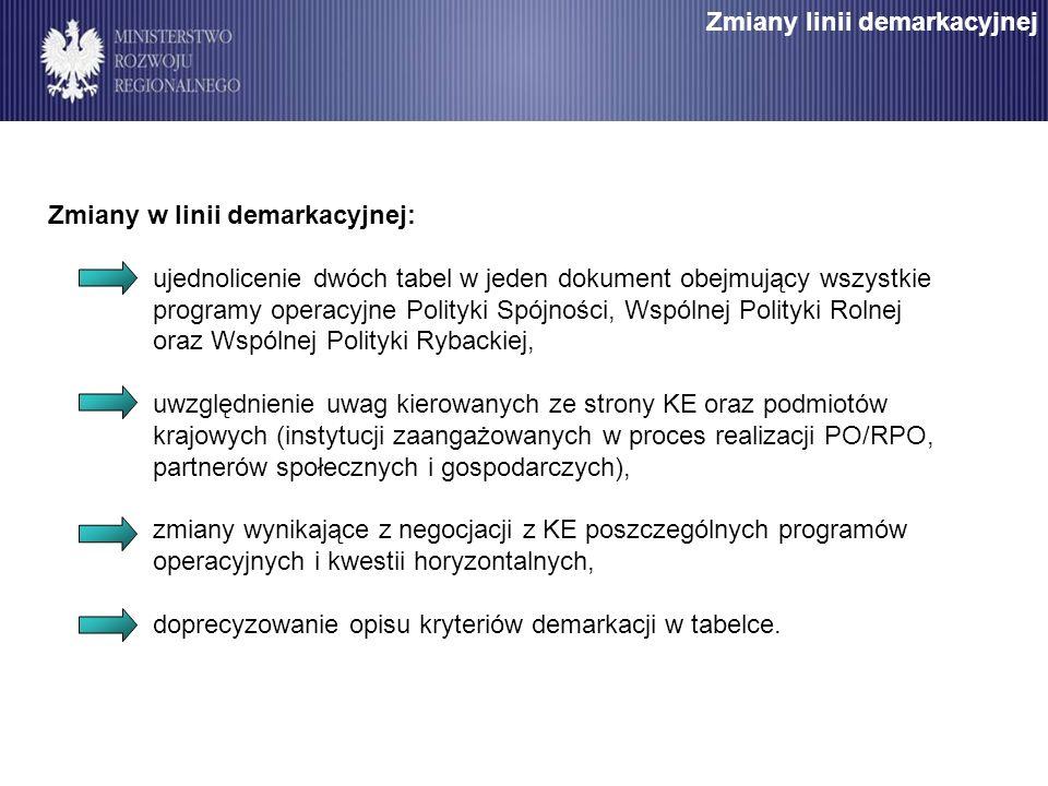 Zmiany w linii demarkacyjnej: ujednolicenie dwóch tabel w jeden dokument obejmujący wszystkie programy operacyjne Polityki Spójności, Wspólnej Polityk