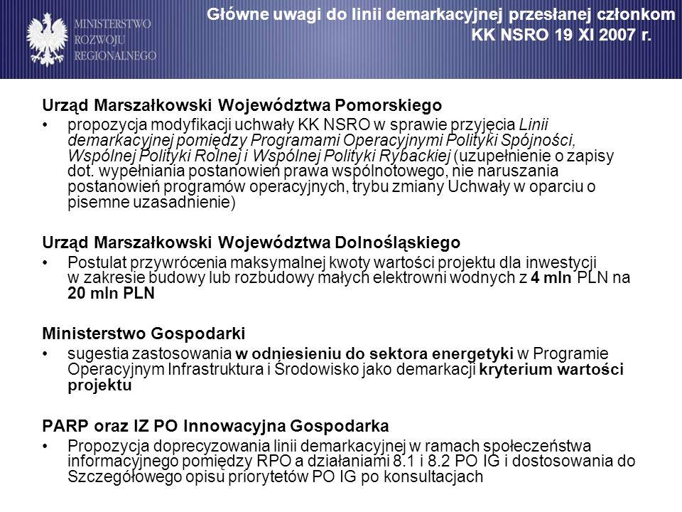 Urząd Marszałkowski Województwa Pomorskiego propozycja modyfikacji uchwały KK NSRO w sprawie przyjęcia Linii demarkacyjnej pomiędzy Programami Operacy