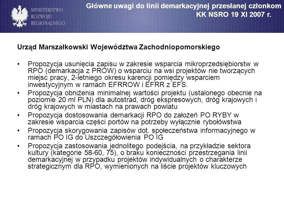 Urząd Marszałkowski Województwa Zachodniopomorskiego Propozycja usunięcia zapisu w zakresie wsparcia mikroprzedsiębiorstw w RPO (demarkacja z PROW) o