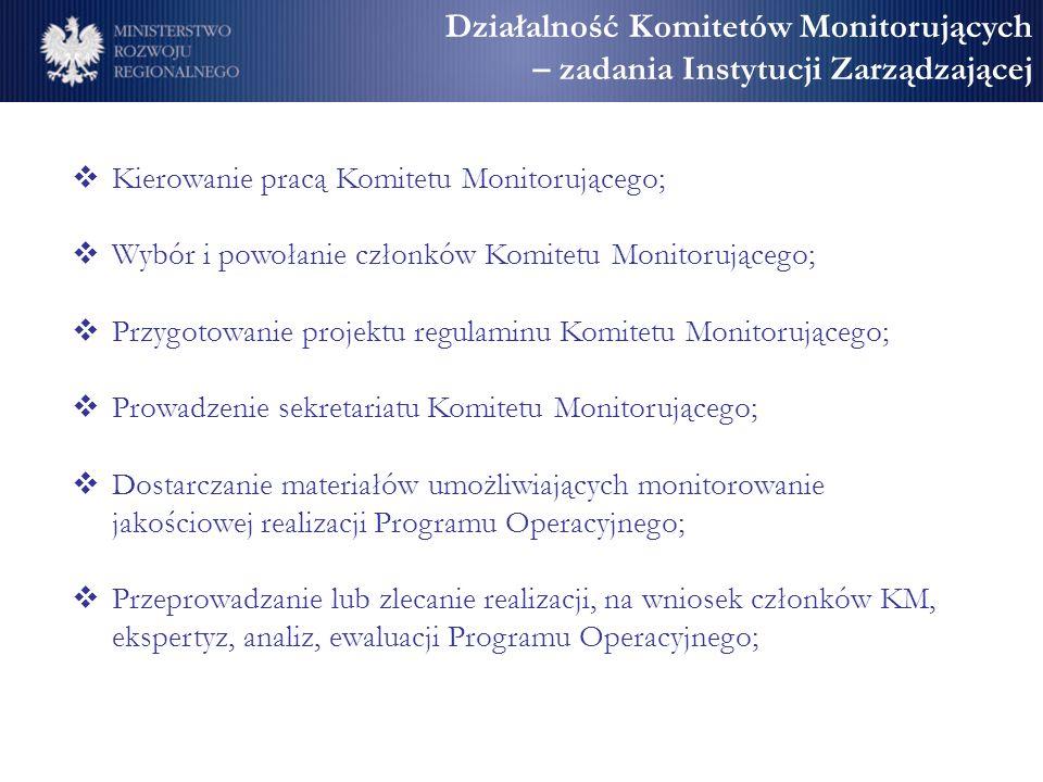 Działalność Komitetów Monitorujących – zadania Instytucji Zarządzającej Kierowanie pracą Komitetu Monitorującego; Wybór i powołanie członków Komitetu