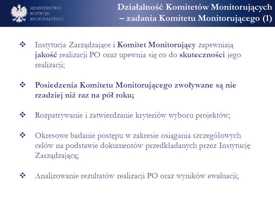 Działalność Komitetów Monitorujących – zadania Komitetu Monitorującego (1) Instytucja Zarządzające i Komitet Monitorujący zapewniają jakość realizacji