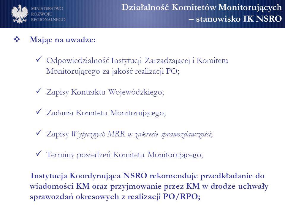 Działalność Komitetów Monitorujących – stanowisko IK NSRO Mając na uwadze: Odpowiedzialność Instytucji Zarządzającej i Komitetu Monitorującego za jako