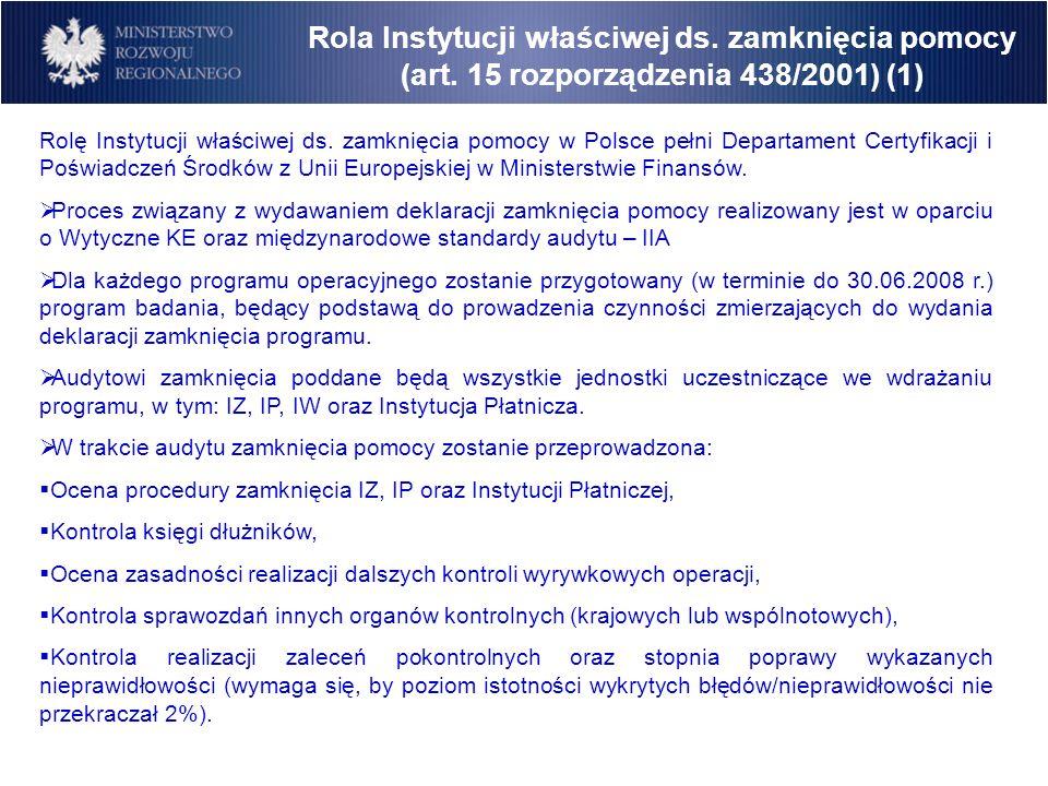 Rola Instytucji właściwej ds. zamknięcia pomocy (art. 15 rozporządzenia 438/2001) (1) Rolę Instytucji właściwej ds. zamknięcia pomocy w Polsce pełni D