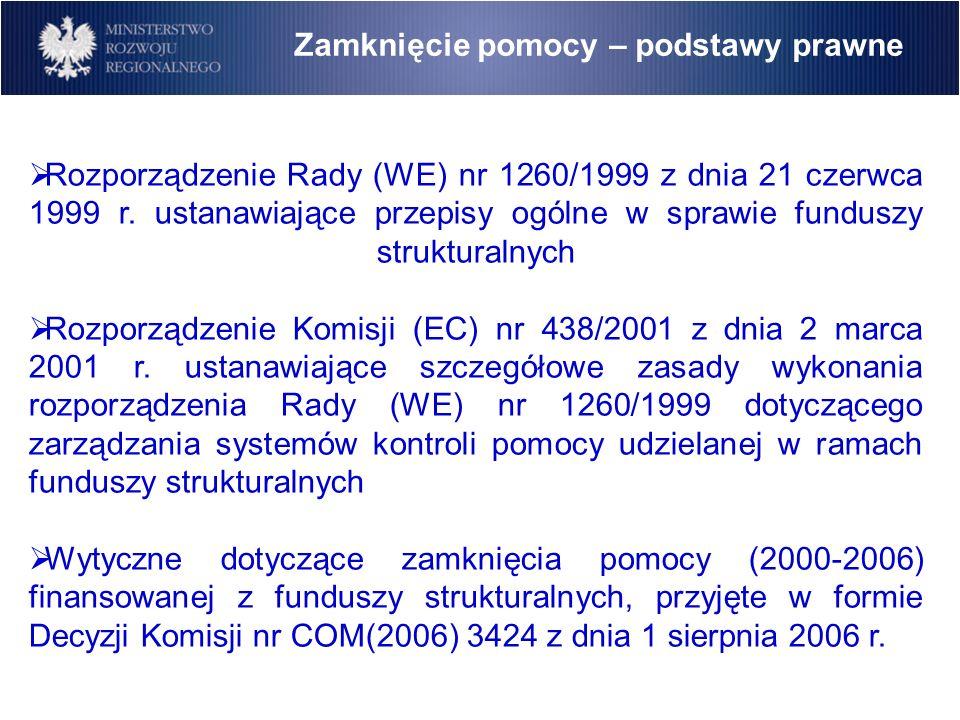 Rozporządzenie Rady (WE) nr 1260/1999 z dnia 21 czerwca 1999 r. ustanawiające przepisy ogólne w sprawie funduszy strukturalnych Rozporządzenie Komisji