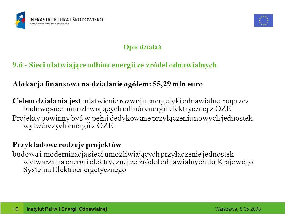 Instytut Paliw i Energii Odnawialnej Warszawa, 8.05 2008 10 Opis działań 9.6 - Sieci ułatwiające odbiór energii ze źródeł odnawialnych Alokacja finansowa na działanie ogółem: 55,29 mln euro Celem działania jest ułatwienie rozwoju energetyki odnawialnej poprzez budowę sieci umożliwiających odbiór energii elektrycznej z OZE.