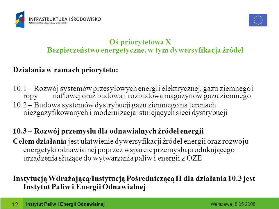 Instytut Paliw i Energii Odnawialnej Warszawa, 8.05 2008 12 Oś priorytetowa X Bezpieczeństwo energetyczne, w tym dywersyfikacja źródeł Działania w ramach priorytetu: 10.1 – Rozwój systemów przesyłowych energii elektrycznej, gazu ziemnego i ropy naftowej oraz budowa i rozbudowa magazynów gazu ziemnego 10.2 – Budowa systemów dystrybucji gazu ziemnego na terenach niezgazyfikowanych i modernizacja istniejących sieci dystrybucji 10.3 – Rozwój przemysłu dla odnawialnych źródeł energii Celem działania jest ułatwienie dywersyfikacji źródeł energii oraz rozwoju energetyki odnawialnej poprzez wsparcie przemysłu produkującego urządzenia służące do wytwarzania paliw i energii z OZE Instytucją Wdrażającą/Instytucją Pośredniczącą II dla działania 10.3 jest Instytut Paliw i Energii Odnawialnej