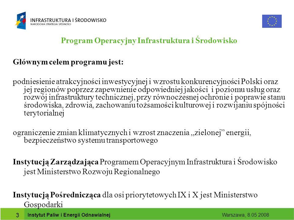 Instytut Paliw i Energii Odnawialnej Warszawa, 8.05 2008 3 Program Operacyjny Infrastruktura i Środowisko Głównym celem programu jest: podniesienie atrakcyjności inwestycyjnej i wzrostu konkurencyjności Polski oraz jej regionów poprzez zapewnienie odpowiedniej jakości i poziomu usług oraz rozwój infrastruktury technicznej, przy równoczesnej ochronie i poprawie stanu środowiska, zdrowia, zachowaniu tożsamości kulturowej i rozwijaniu spójności terytorialnej ograniczenie zmian klimatycznych i wzrost znaczenia zielonej energii, bezpieczeństwo systemu transportowego Instytucją Zarządzająca Programem Operacyjnym Infrastruktura i Środowisko jest Ministerstwo Rozwoju Regionalnego Instytucją Pośrednicząca dla osi priorytetowych IX i X jest Ministerstwo Gospodarki