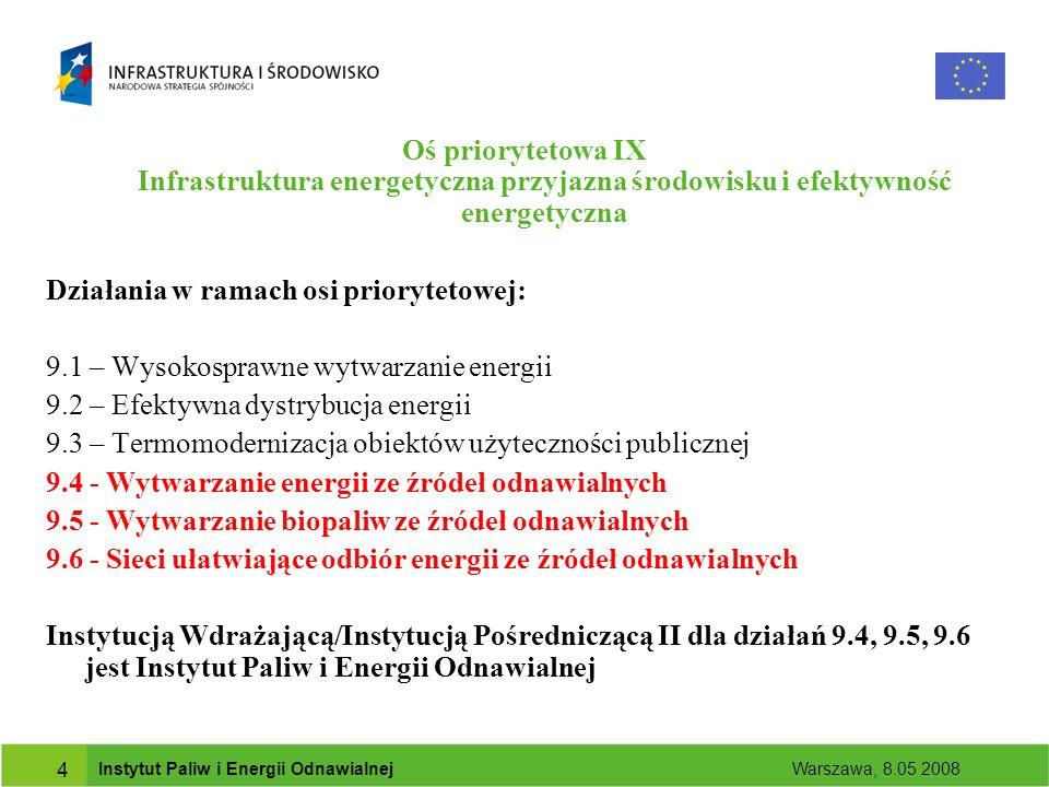 Instytut Paliw i Energii Odnawialnej Warszawa, 8.05 2008 4 Oś priorytetowa IX Infrastruktura energetyczna przyjazna środowisku i efektywność energetyczna Działania w ramach osi priorytetowej: 9.1 – Wysokosprawne wytwarzanie energii 9.2 – Efektywna dystrybucja energii 9.3 – Termomodernizacja obiektów użyteczności publicznej 9.4 - Wytwarzanie energii ze źródeł odnawialnych 9.5 - Wytwarzanie biopaliw ze źródeł odnawialnych 9.6 - Sieci ułatwiające odbiór energii ze źródeł odnawialnych Instytucją Wdrażającą/Instytucją Pośredniczącą II dla działań 9.4, 9.5, 9.6 jest Instytut Paliw i Energii Odnawialnej
