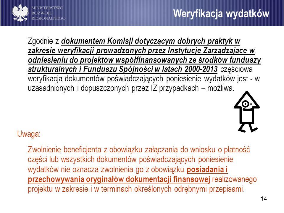 14 Zgodnie z dokumentem Komisji dotyczącym dobrych praktyk w zakresie weryfikacji prowadzonych przez Instytucje Zarządzające w odniesieniu do projektó