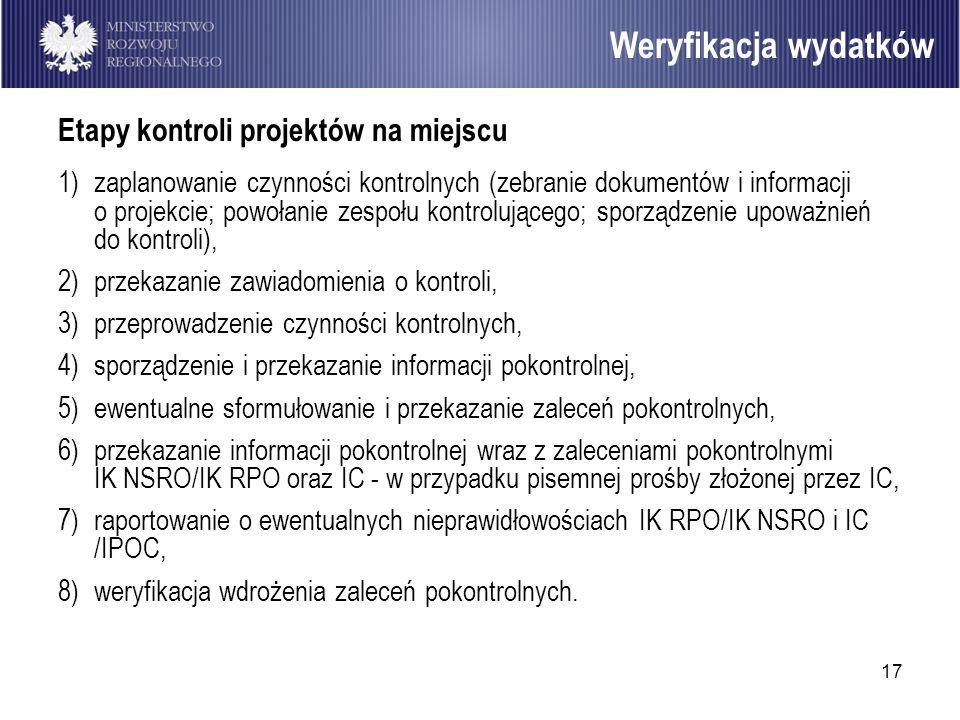 17 Etapy kontroli projektów na miejscu 1)zaplanowanie czynności kontrolnych (zebranie dokumentów i informacji o projekcie; powołanie zespołu kontroluj