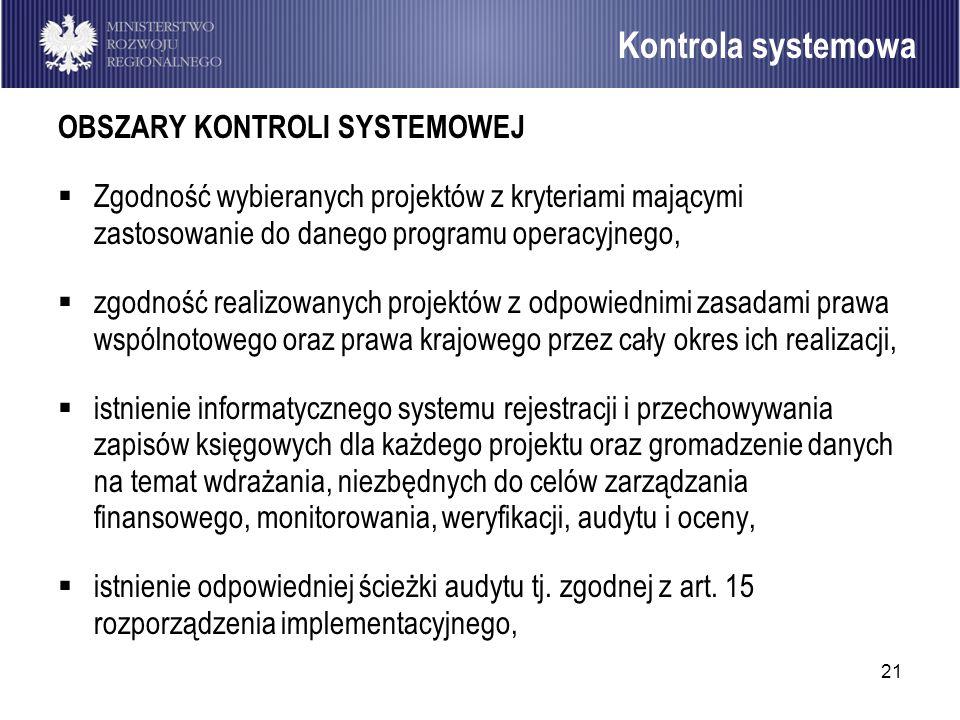 21 OBSZARY KONTROLI SYSTEMOWEJ Zgodność wybieranych projektów z kryteriami mającymi zastosowanie do danego programu operacyjnego, zgodność realizowany