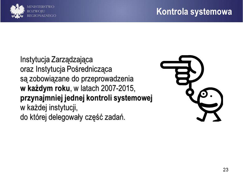 23 Instytucja Zarządzająca oraz Instytucja Pośrednicząca są zobowiązane do przeprowadzenia w każdym roku, w latach 2007-2015, przynajmniej jednej kont