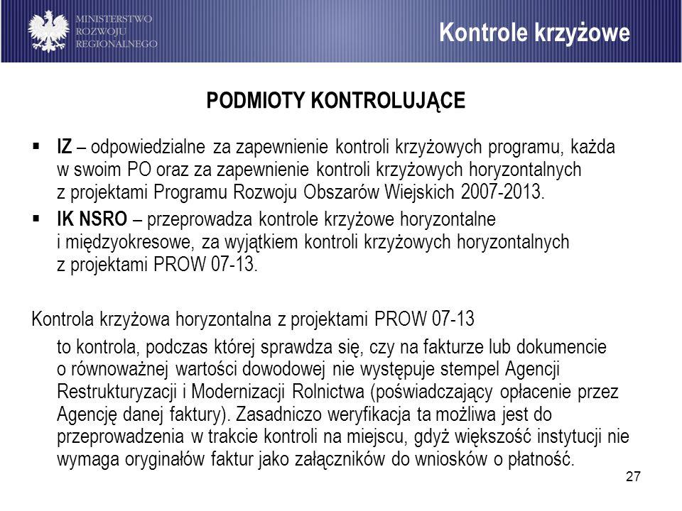 27 Kontrole krzyżowe PODMIOTY KONTROLUJĄCE IZ – odpowiedzialne za zapewnienie kontroli krzyżowych programu, każda w swoim PO oraz za zapewnienie kontr